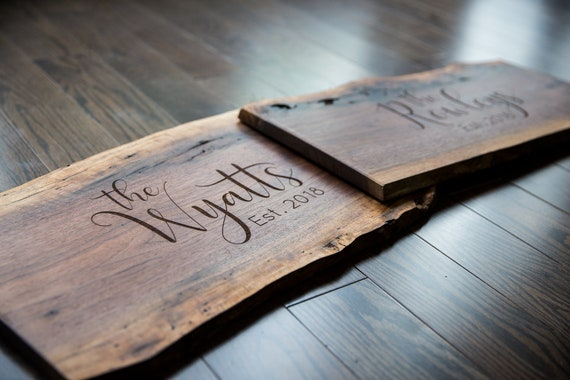 Live Edge Personalized Cheese Board Cutting Board or Sign