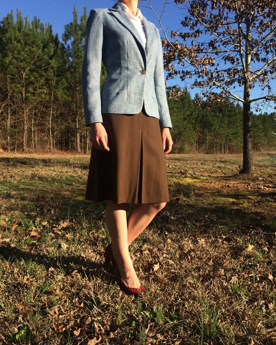1942 Reproduction Ladies Tailored Jacket *Dauntless* in Blue Tweed Rayon   *WWII Wardrobe Suit Jacket*