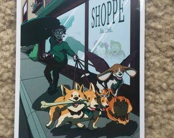 Vampire Dog Walker Art Print