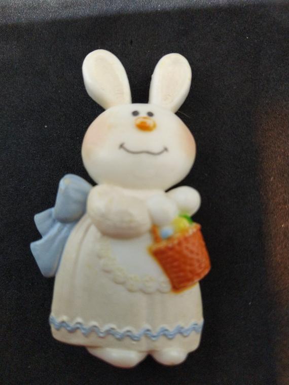 pin brooch Easter Spring May Day Easter Bunny Rabbit Lent Easter Basket Easter Egg Bernadette Bunny 1975 Hallmark Cards Inc