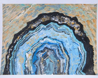 Blue Agate Slice ORIGINAL Painting on Paper, 8.5x11