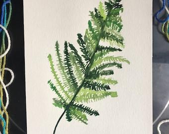Fern-tastic, Original Art, 7x11, Watercolor, Greens