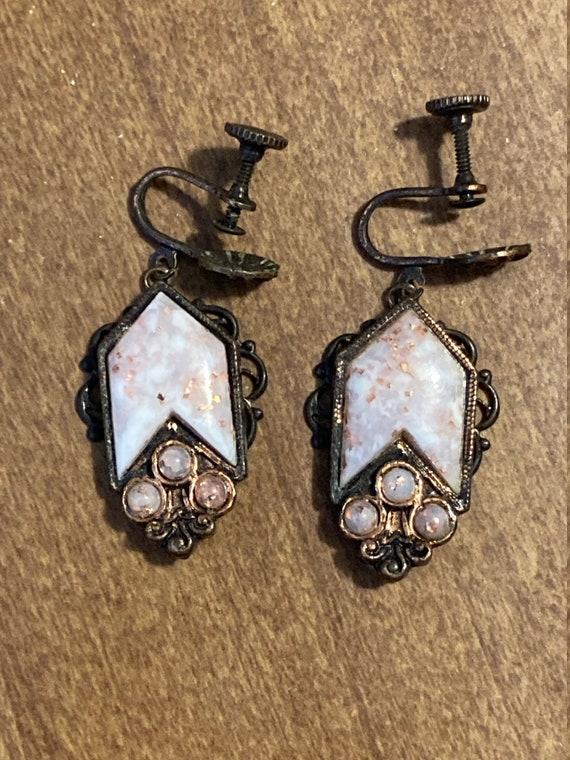 Vintage Faux Pearl and Gem Earrings