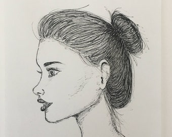 Girl's Side Profile Ink Drawing
