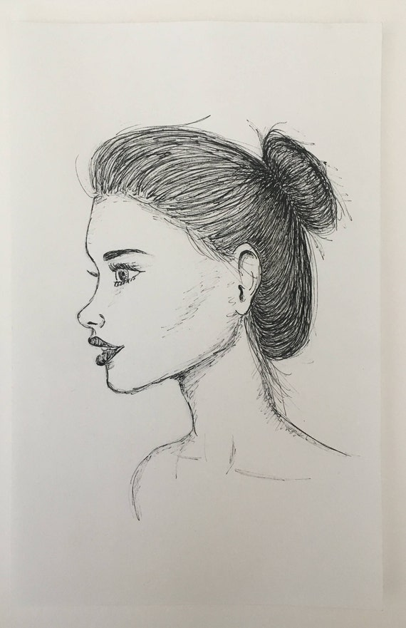 girl s side profile ink drawing etsy