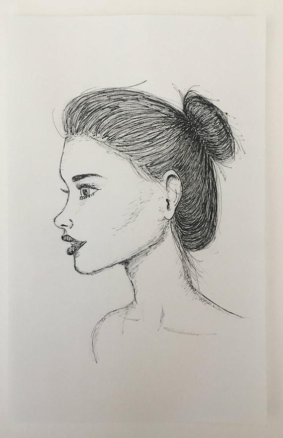 Profil Latéral De La Jeune Fille Dessin à Lencre