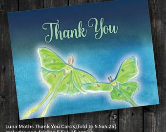 Luna Moths 5.5x4.25 Thank You Cards - Direct Download - Hand Painted Watercolor - Green and Blue - INSTANT DOWNLOAD