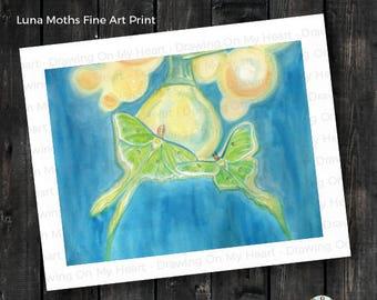Luna Moths Fine Art Print - Original Hand Painted Watercolor - 8x10 - 11x14 - 13x19