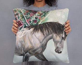 Magical Gray Horse 18x18 Square decorative pillow