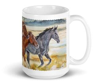 Wild Horses of Utah - 15 oz. White glossy mug - Save our Mustangs