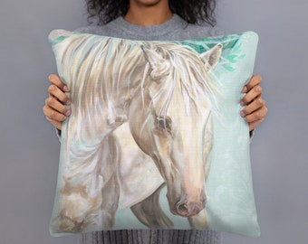 Magical White Horse 18x18 Square decorative pillow