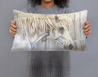 White Winter Horse 20x12 Rectangular Decorative Pillow