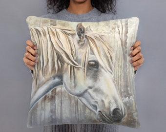 White Winter Horse 18x18 Square Decorative Pillow