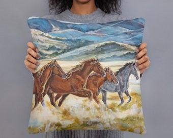 Wild Horses of Utah 18x18 Square decorative pillow