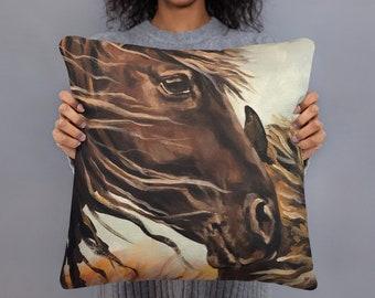 "Wild Horses ""Family Bond"" 18x18 Square decorative pillow"