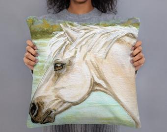 Wild White Horse 18x18 Square decorative pillow