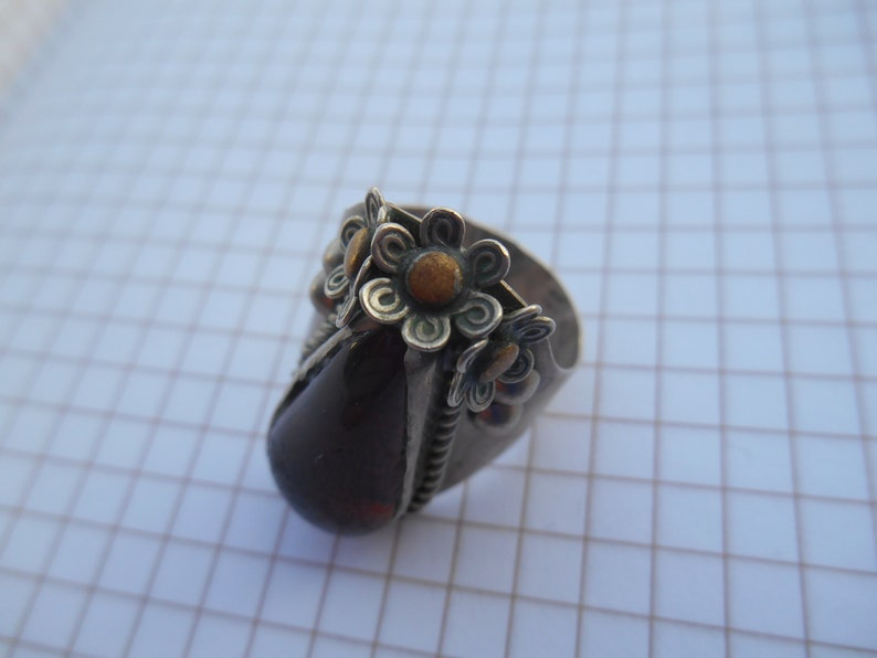 Old vintage ring.beautiful old ring with USSR light brown glass.