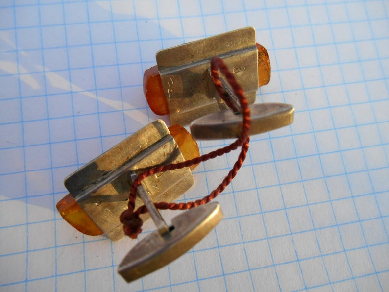 Silver cufflinks with amber USSR