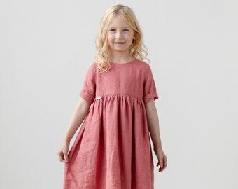 Rose Short Sleeves 100% Linen Girls Dress 12 - 24 month