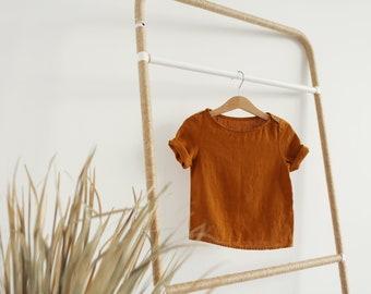 Mustard linen shirt, short sleeves linen shirt, unisex linen shirt, short sleeves kid's linen shirts