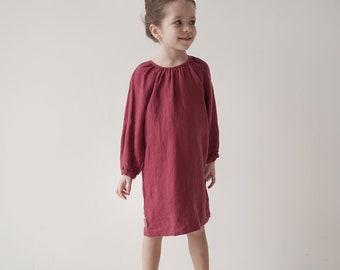 Raspberries long sleeves  100 % linen girl dress