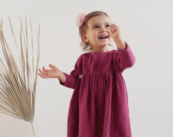 Raspberries 100 % Linen Kids Dress with long sleeves and high waist