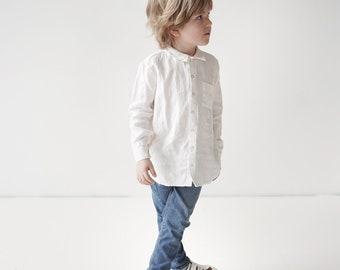 White 100 % linen classic kids shirt