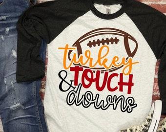 Turkey and Touch Downs Svg, Turkey Svg, Thanksgiving Svg, Thanksgiving Svg Files, Thanksgiving SVG designs Cricut Cut Files Svg Dxf Png Jpeg