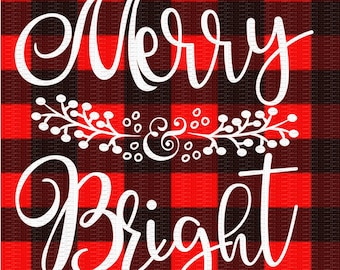 Merry and Bright, Christmas Svg,Dxf,Png,Jpeg