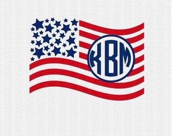 American Flag Monogram Svg, 4th of July Flag Svg, United States Flag Svg, Independence Day Svg, 4th of July Svg Dxf Png Jpeg