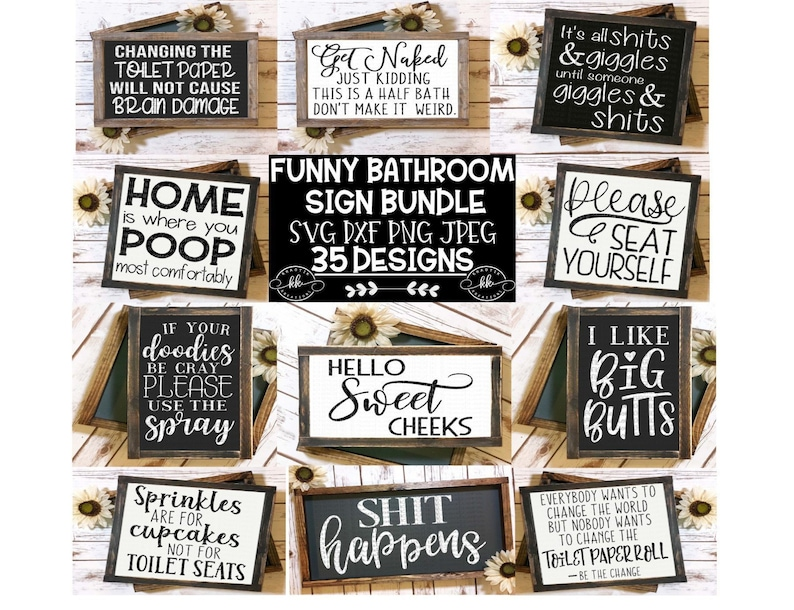 Bathroom Sign Bundle Svg Funny Bathroom Svg Bathroom ...