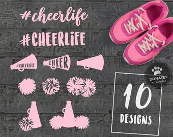Cheerlife Cut File Bundle | #Cheerlife SVG Bundle Pom Poms Svg Cheer SVG Bundle Cheer Cut File Bundle Cheer Cone Svg Cheerleading Megaphone