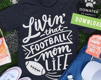 Football Mom SVG | Football SVG | Mom Life SVG | Game Day Svg Football Png Digital Cut File for Circuit Silhouette Jpg Dxf Instant Download