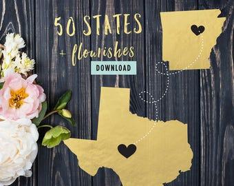 793 Files | 50 State Shapes Cut File Bundle for Cricut 50 United States SVG Bundle for Silhouette 50 States SVG Bundle Flourishes Commercial