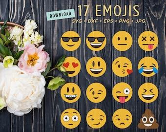 17 Emoji SVG Files | Emoji Clipart Digital Bundle | Poop Emoji |  Emoticon Smiley Face Files for Cricut Silhouette Dxf • Png • Eps • Jpg