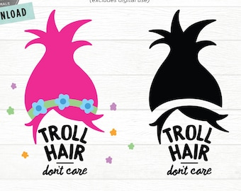 Troll Hair SVG | Troll Hair Don't Care SVG | Girl Troll Hair SVG Cut File | Trolls svg | Troll Hair Cuttable Files for Cricut Cute Kids Dxf
