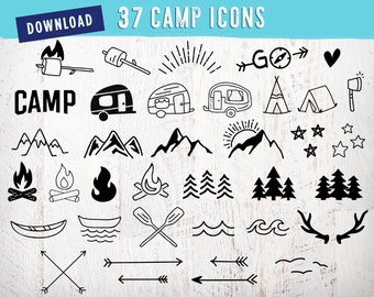 37 Icons • Camping SVG Bundle | Camp SVG Bundle Camper Svg Pack Set Camping Clipart Summer Svg Campfire Silhouette Mountains Trees RV Arrows