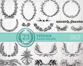 23 Vintage Laurel Wreath Clipart | Vintage Christmas Wreath Clipart | Laurel Wreath SVG Bundle Circle Monogram Frame Leaves Cut File Png