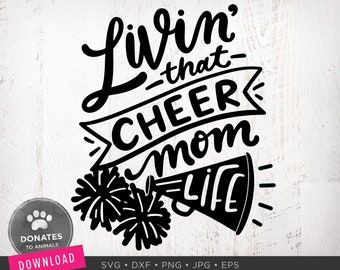 Cheer Mom SVG | Cheer Svg | Cheerleading Svg Football SVG | Mom Life SVG Game Day Svg Football Png Digital Cut File for Circuit Dxf Download