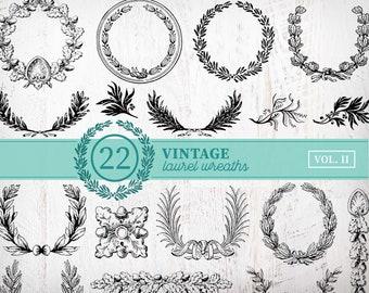 22 Vintage Laurel Wreath Clipart | Vintage Christmas Wreath Clipart | Laurel Wreath SVG Bundle Circle Monogram Frame Leaves Cut File Png