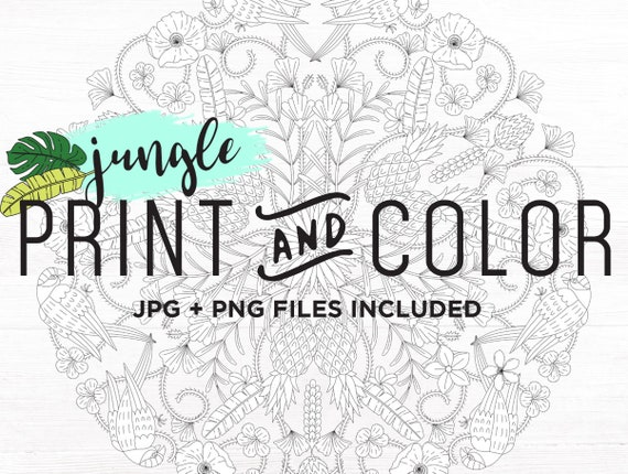 Adult Coloring Pages Download Adult Coloring Page Printable Mandala Coloring Pages Fun Unique Summer Jungle Mandala Clipart Digital Download