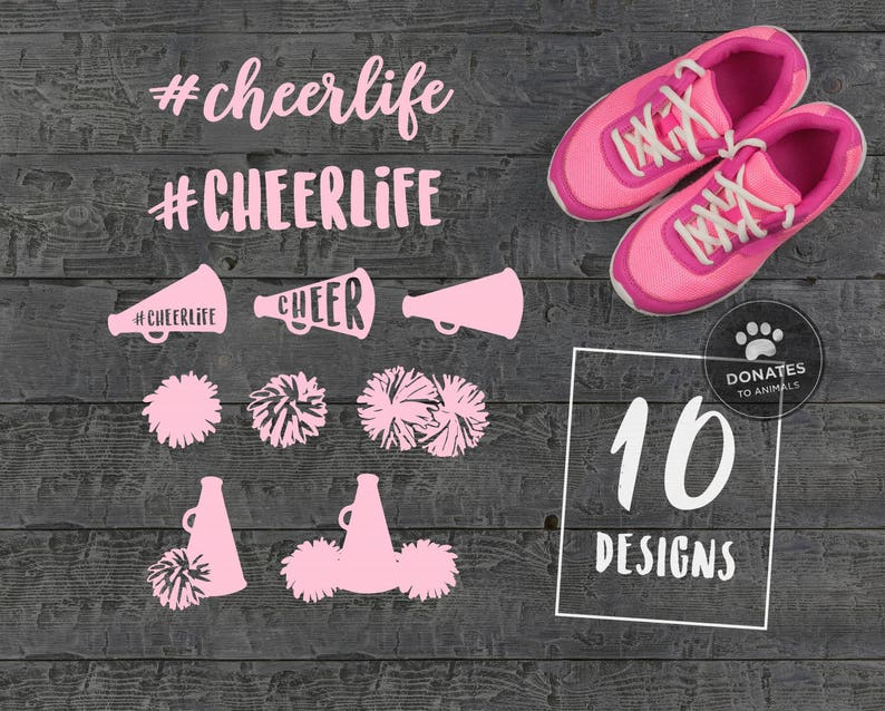 Cheerlife Cut File Bundle #Cheerlife SVG Bundle Pom Poms Svg Cheer SVG Bundle Cheer Cut File Bundle Cheer Cone Svg Cheerleading Megaphone