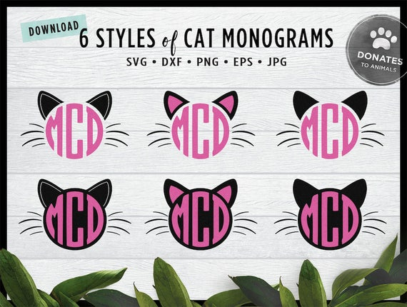 6 styles 25 files cat monogram svg bundle commercial use etsy