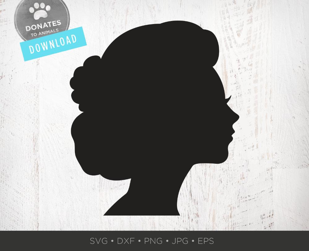 Female Head Silhouette Svg Victorian Silhouette Clipart Etsy