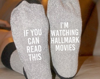 If You Can Read This I'm Watching Hallmark Movies Cabin Socks