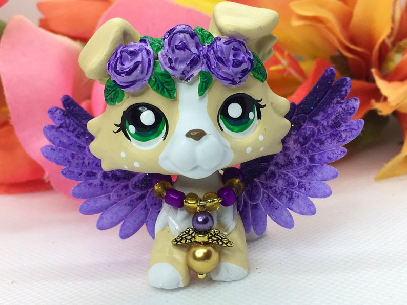 Littlest Pet Shop Cute, Charming COLLIE DOG, Ooak Custom, with Accessories  Nice!