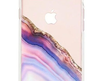 Pink and Blue Agate Case fits iPhone 6, 6s, 7 and 8.