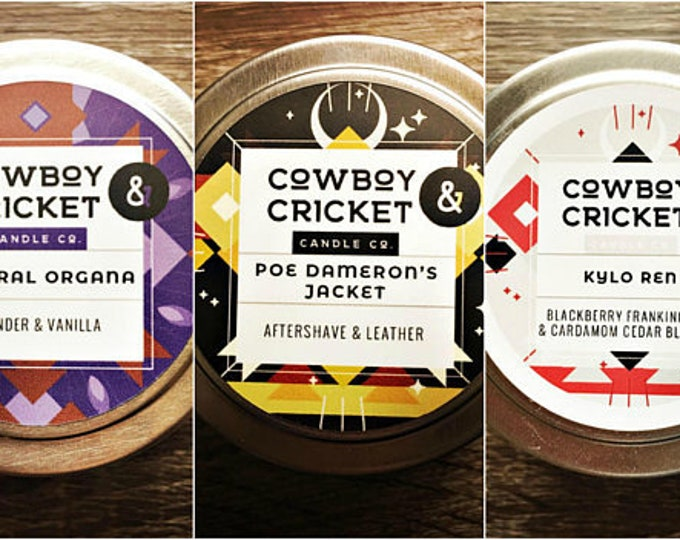 Featured listing image: Star Wars Inspired Trio - Poe Dameron's Jacket, Kylo Ren, & General Organa  - Set of 3 Handmade Scented Soy Candles