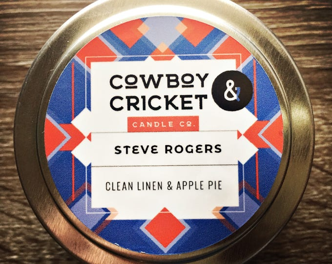 Featured listing image: Steve Rogers - Captain America Inspired - Clean Linen & Apple Pie - Handmade Scented Soy Candle - 4 oz tin with lid