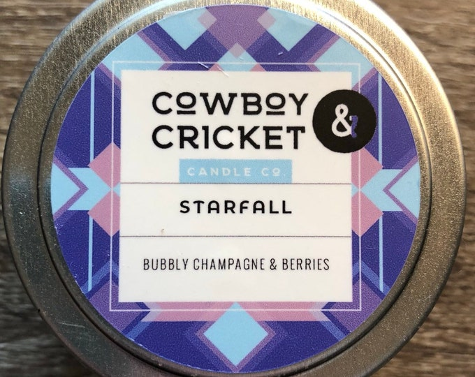 Featured listing image: Starfall - *LIMITED EDITION* - Bubbly Champagne & Berries - Handmade Scented Soy Candle - 4 oz tin with lid